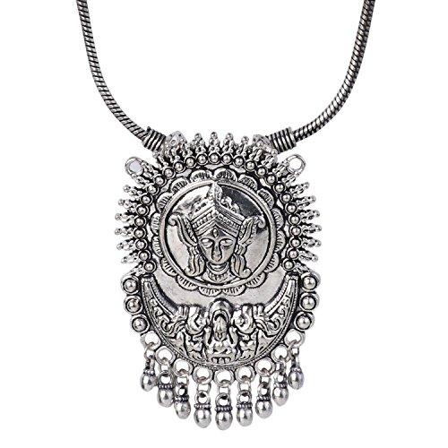 Efulgenz Boho Vintage Antique Ethnic Gypsy Tribal Indian Oxidized Silver Statement Religious Tassel Pendant Necklace Jewelry ()