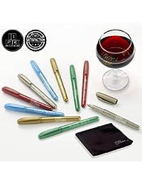 Access (10) Wine Glass Markers Pens By Glass Graffiti Premium Metallic Writer Marker Liquid Chalk Pen & Wipe Cloth -... saleoff