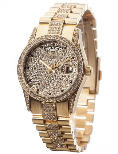 Yves Camani Tiberius Ladies Watch Gold Plated Cubic Zirkonia Crystals Date YC1043-E