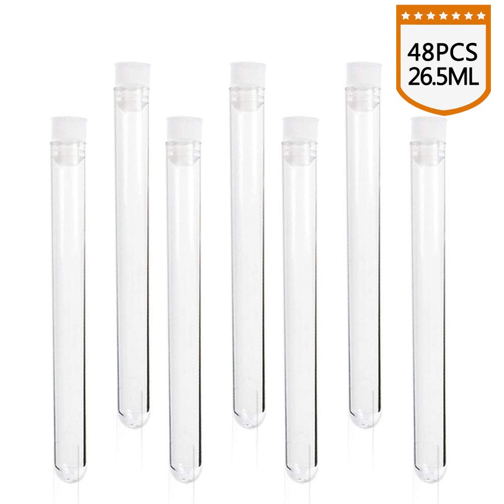 SUPERLELE 48pcs 16x150mm Clear Plastic Test Tube with Caps for Scientific Experiments, Party, Decorate the House, Candy Storage by SUPERLELE