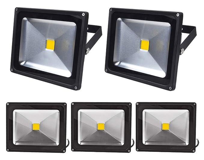 Leetop 5X 30W 10W 20W Negro Blanco Cálido Foco Proyector LED Proyector LED IP65 Exterior Iluminación Reflector para Jardín,Terraza(30 Watt)
