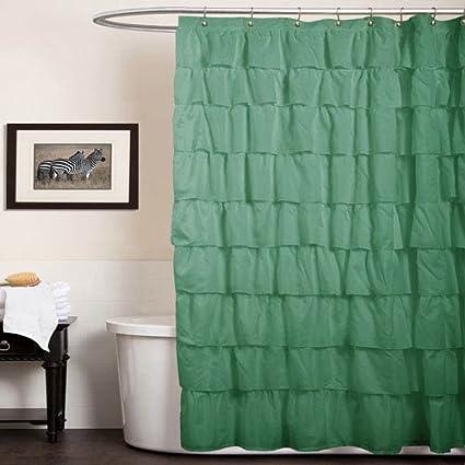 Lush Decor Ruffle Shower Curtain, 72 Inch X 72 Inch, Green