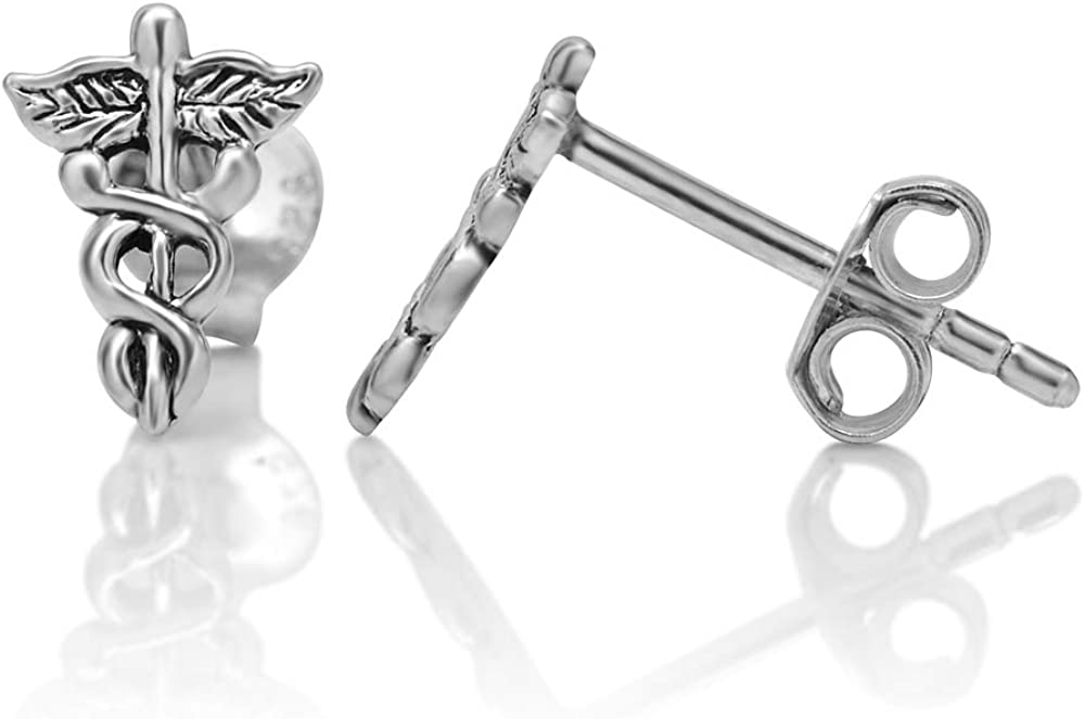 925 Sterling Silver Tiny Caduceus Astrology Medical Symbol 10 mm Post Stud Earrings
