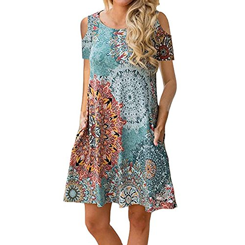 Misyula Style Sundresses for Women Casual Beach, Ladies Summer Dresses Beach Boho Charming Crew Neck Cold Shoulder Above Knee Length Terrific Nice Floral Pirnt Elastic Damask Modest Flower XXL -