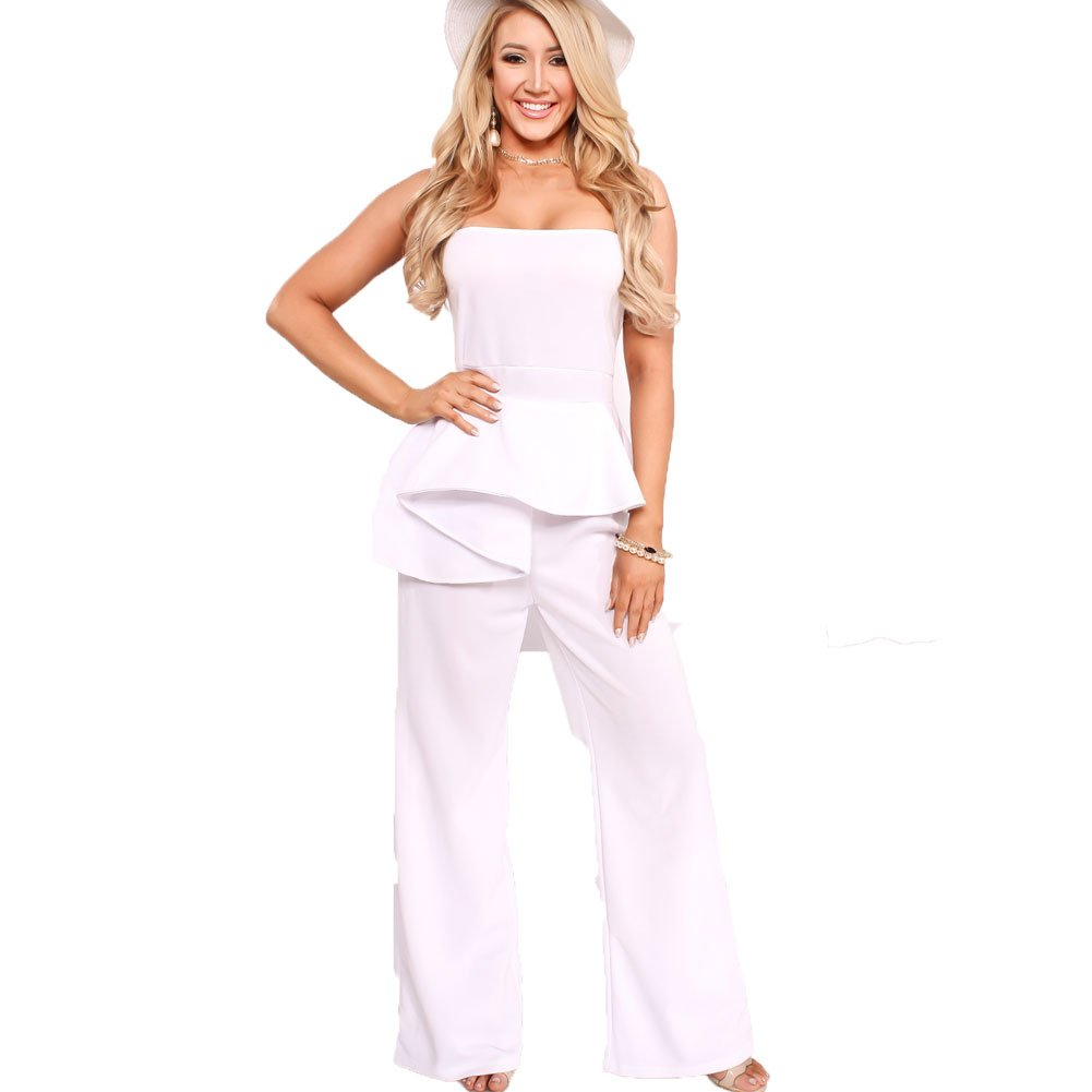 Bodycon4U Women's Sexy Ruched Ruffle Wide Leg Pants Bodycon Clubwear Jumpsuit Rompers White 2XL
