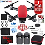 DJI SPARK Fly More Drone Combo (Lava Red) With Custom Hard Case, 64GB High Speed Card, Corel Paint Version 9, High Visibility Pro Guards, Cleaning Cloth, and One Year Warranty Extension For Sale