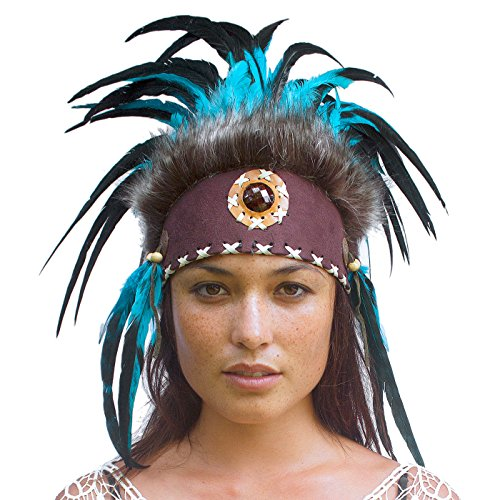 Unique Feather Headdress- Native American Indian Inspired- Handmade by Artisan Halloween Costume for Men Women with Real Feathers - Aqua with (Aztec Costume For Men)