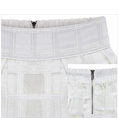 Culater Alta Zipper Señoras Blanco Faldas Falda Mujeres Tulle Cintura Organza De rqrfUB