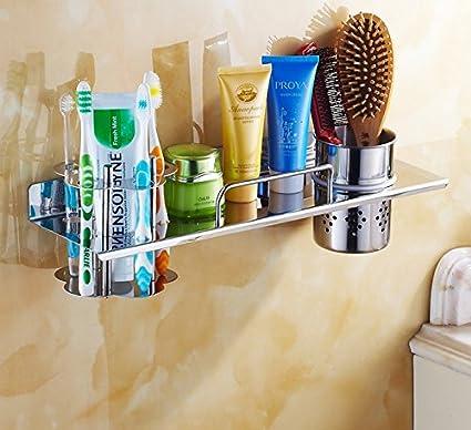 lfnrr alta calidad cuarto de baño estanterías multifunción cepillo de dientes Vaso Titulaire acero inoxidable 304