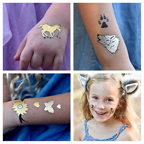 Twink Designs Temporary Tattoos for Kids | 22 Individual Sheets | 144 Tattoos | Great for Party Favors, Goody Bags and Prizes for Boys and Girls | Fake Metallic Temporary Tattoos for Children]()