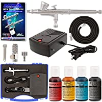Master Airbrush Complete Airbrush Cake Decorating Kit with G34 Master Airbrush & Portable Compressor TC-22, Set of 4 Chefmaster Airbrush Food Colors, .7 fl oz Bottles