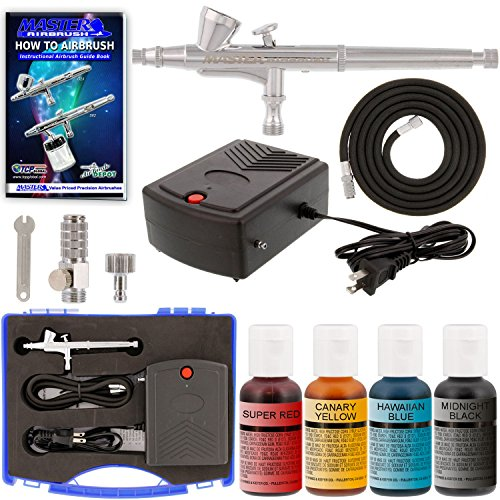 Master Cake - Master Airbrush Complete Airbrush Cake Decorating Kit with G34 Master Airbrush & Portable Compressor TC-22, Set of 4 Chefmaster Airbrush Food Colors, .7 fl oz Bottles