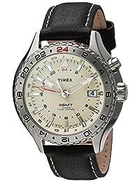 Timex Men's TWH4Z4510 Intelligent Quartz 3-GMT Black Leather Strap Watch