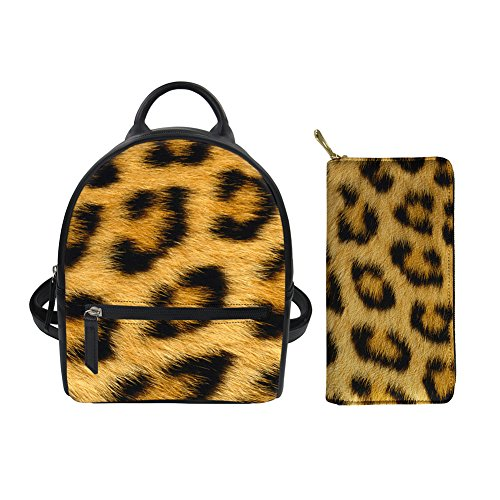 Cheetah Fur Printed Cute Small PU Leather Women Travel Backpack Purse Satchel with Long Wallet