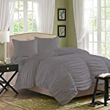 Relaxare Queen 600TC 100% Egyptian Cotton Silver Grey Solid 3PCs Gathered Ruffle Duvet Set Solid- Ultra Soft Breathable Premium Fabric