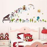ufengke Children's Cartoon Cello Piano Music Instrument Wall Decals, Children's Room Nursery Removable Wall Stickers Murals
