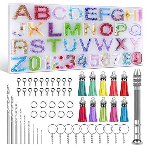 Alphabet Silicone Resin Molds, Epoxy Letter Number Silicone Molds for Resin with Keychain Tassels and Pin Vise Set for Making Keychain/House Number