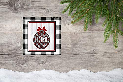 10x10 Black Buffalo Check Home for the Holidays Canvas Print (Theres No Place Like Home For The Holidays)