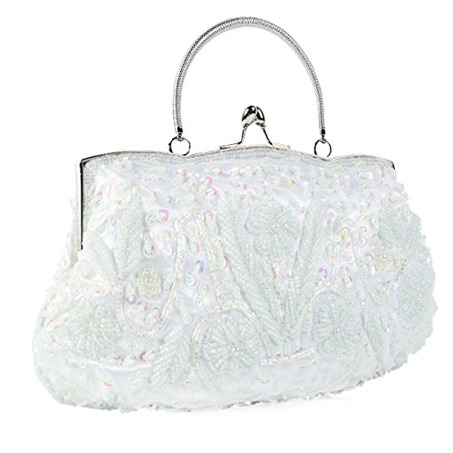 Flada Ladies Clutch Wedding Prom White Bag Sequined Vintage Women Night For Beading Coffee Flowers 1Fnr71