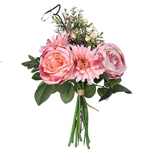 Artiflr Artificial Peony Wedding Flower Bouquet, Pink Vintage Peony Silk Flowers for Home Kitchen Wreath Wedding Centerpiece Decor