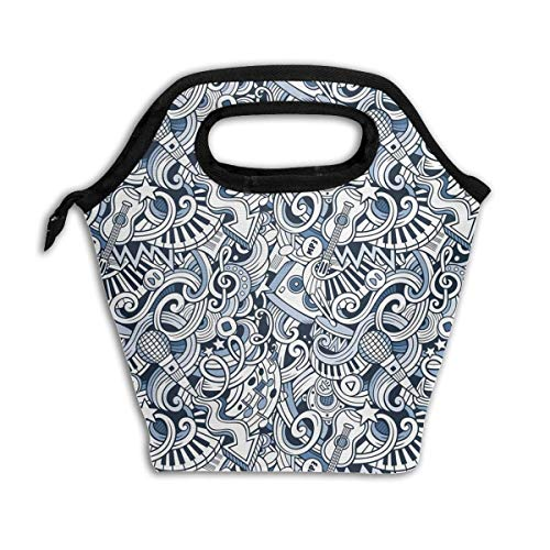 - Neoprene Carrying Insulated Thermal Lunch Bag - Popstar Party Style Hand Drawn Doodles Music Theme Icons Line Art Food Tote Bag - School Office Picnic Outdoor Lunch Box Storage Organizer