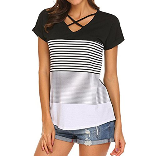 Forthery Summer Women's Short Sleeve Casual Stripe Criss Cross Front V-Neck T-Shirt Tops (Black, XL) (Top Tri Tie)