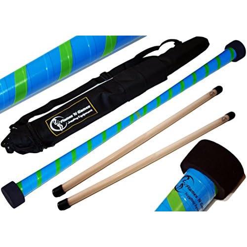 Baton du Diable Set TWIST (Bleu/Vert) + Ultra-Grip Silicone Bâtons en bois +Sac de voyage! Bâtons de Diable, Bâtons de Jonglage!