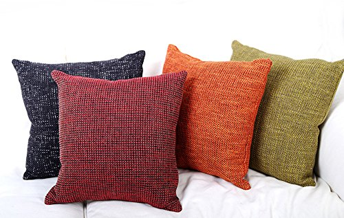 Chenille Square Throw - FashionMall Set of 4 Luxury Soft Chenille Roving Woven Square Throw Pillow Covers 16 x 16 Inches, (4 Colors)