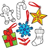 Christmas Shapes Suncatcher Hanging Decoration Set for Children to Color-in - Make Your Own Creative Craft Toy Kit for Kids (Pack of 8)
