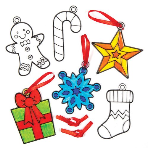 Baker Ross Christmas Shapes Suncatcher Hanging Decoration Set for Children to Color-in - Make Your Own Creative Craft Toy Kit for Kids (Pack of -