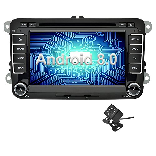Ohok Android 8.0 Car Stereo for VW Volkswagen SEAT Skoda Golf Polo Jetta Passat 2 Din 7 Inch 8-Core 4GB RAM 32GB ROM Sat Nav Head Unit with DVD Player Supports Bluetooth WLAN OBD2 AUX Subwoofer AV Out (Hybrid Dvr Card)