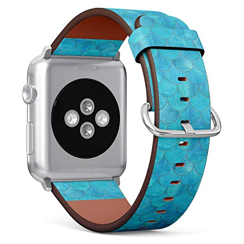 Compatible with Apple Watch 38mm & 40mm Leather Watch Wrist Band Strap Bracelet with Stainless Steel Clasp and Adapters (Mermaid Fish Scale Wave Japanese)