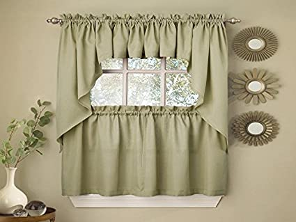 Sweet Home Collection Opaque Rib Cord Kitchen Curtains Swag Pair, Ribcord Sage