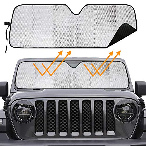 Big Hippo Windshield Sun Shade for 2007-2019 Jeep Wrangler Rubicon Sahara TJ, JK, JKU, 2 & 4 Door- Blocks UV Rays Sun Visor Protector, Foldable Car Sun Shade Keep Your Vehicle Cool,Car Window Shade