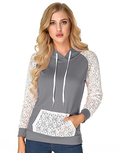 Hooded Lace (StyleDome Women's Hoodies Hooded Sweatshirt Lace Long Sleeve Front Pocket Pullover Grey XL)