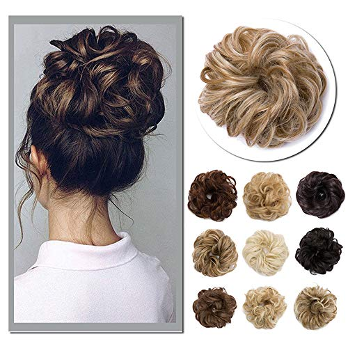 S-noilite Hair Bun Extensions Messy Updo Ponytail Scrunchie Donut DIY Chignon Elastic Synthetic Long Wrap Around(2pack,ash Blonde Mix Bleach Blonde Thin (Fit Tailored Mix)