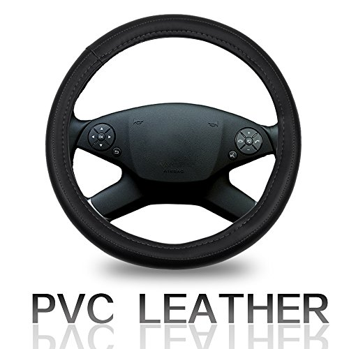 ECCPP Steering Wheel Cover 15 Inch Universal PVC Semi-PU Leather - Black with Grey Line Auto Steering Wheel Cover