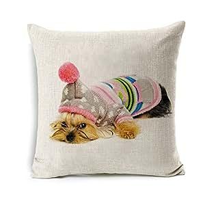 Amazon.com: All Smiles Yorkie Dog Throw Pillow Cover