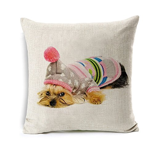 Yorkie Pictures (All Smiles Cute Yorkie Dog Decorative Throw Pillow Cover Adorable Funny Pet Cushion Case 18x18 Cotton Linen For Outdoor Sofa Couch Bed, Human Friends)