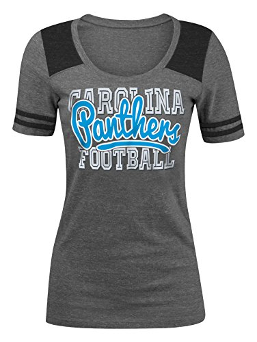 NFL Carolina Panthers Women's Tri-Blend Jersey Scoop Neck Tee, X-Large, Grey
