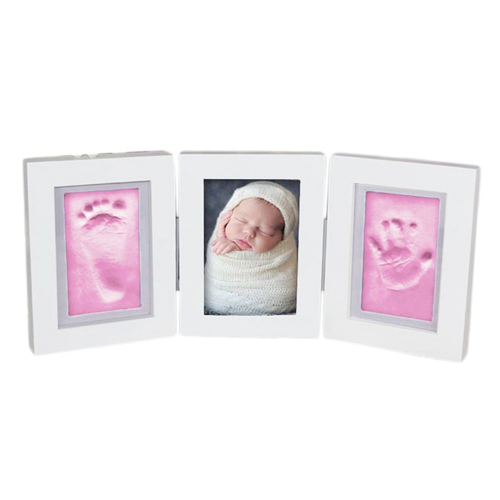 DIY Newborn Baby Hand Footprint Making Photo Frame + Inkpad Mud For Unique Baby Shower Keepsake Gifts Kit Blue-Clay Gosear