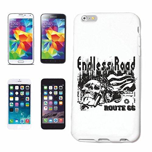 """cas de téléphone iPhone 7S """"ENDLESS ROAD ROUTE 66 SHIRT BIKER MOTO CHOPPER MOTO GOTHIQUE SKULL MOTO CLUB BIKE ROUTE 66"""" Hard Case Cover Téléphone Covers Smart Cover pour Apple iPhone en blanc"""