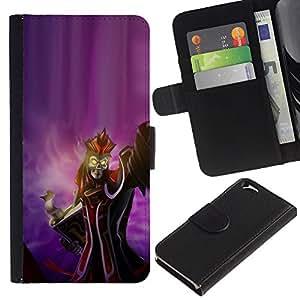 KingStore / Leather Etui en cuir / Apple Iphone 6 / Arte Reina Malvada Bruja Rey Esqueleto Diablo