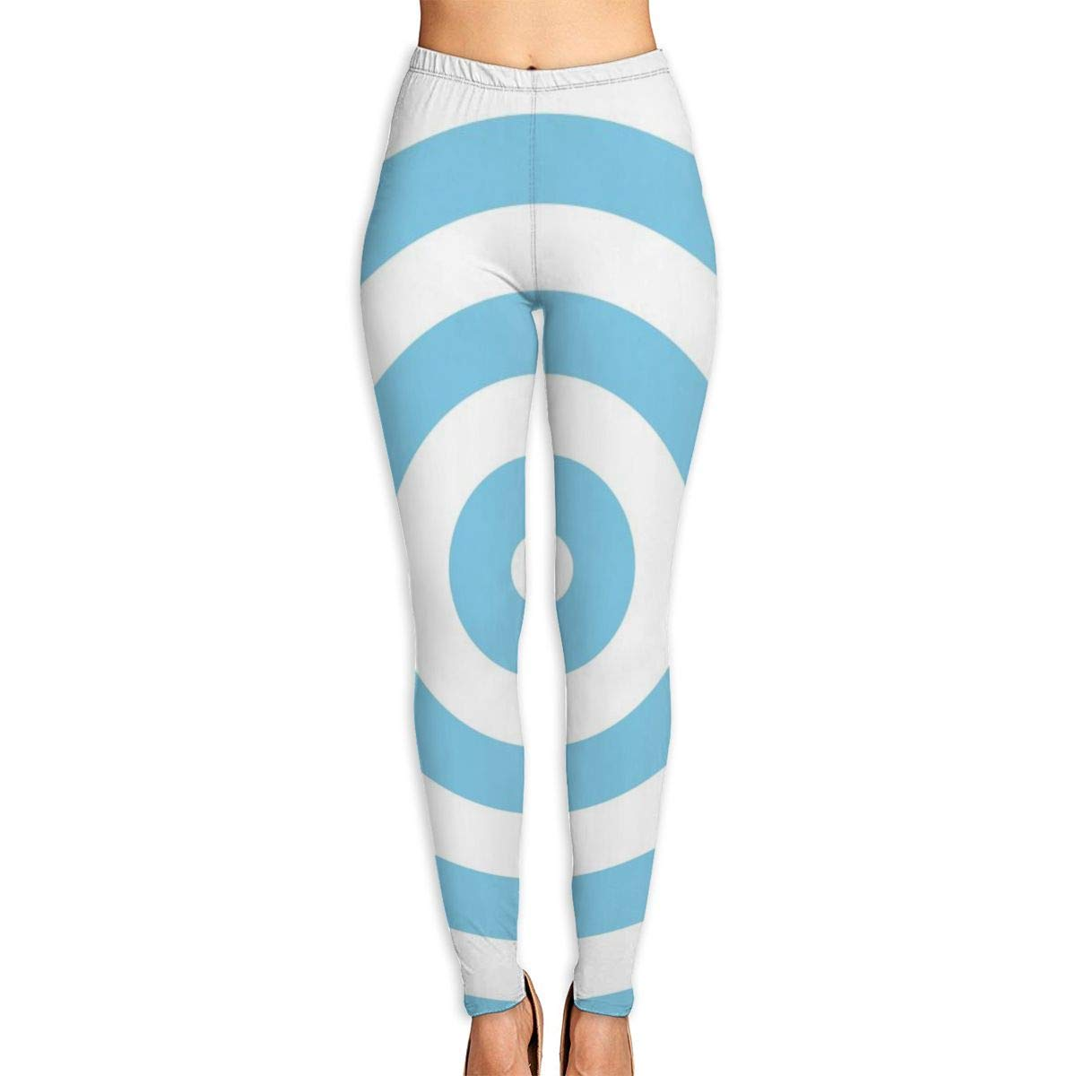 Ayf-S478 Linear White Blue Gradient Womens Yoga Pants Sports Workout Leggings Athletic Tight Pants Fitness Power Stretch Yoga Leggings Tummy Control