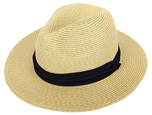 Straw Hat Men & Women's Wide Brim Foldable Straw Panama Fedora Sun Hat, Nature