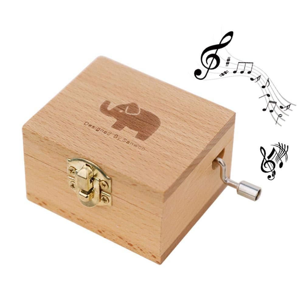 PURO Mano scatola di musica Classico di Retro Legno, scatola decorativa, Compleanno, Anniversario di Matrimonio, Festa della Mamma, Giorno Di SAN Valentino barba Leegoal