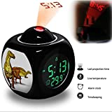 Projection Alarm Clock Wake Up Bedroom with Data and Temperature Display Talking Function, LED Wall/Ceiling Projection, Dinosaur-161.26_Nanyangosaurus Dinosaur