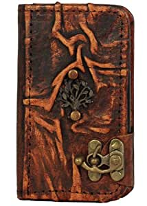 Oak Tree Pendant Samsung Galaxy S4 Cases Covers Vintage Style Leather Hardcover Handmade Wallet Hardback Pouch Side Flip Lock Cover Case