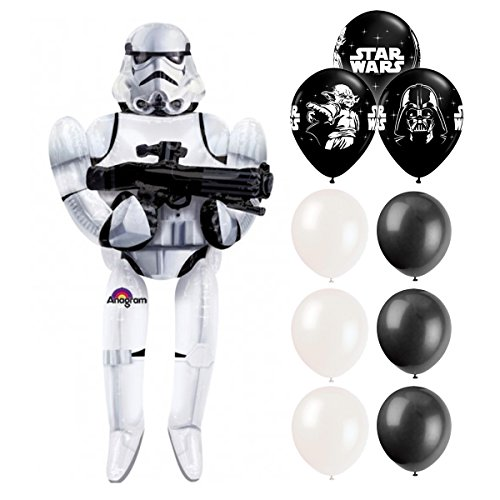 Storm Tropper Air Walker Balloon and 12-inch Black and White Pixiss Balloons Bundle, Star Wars Storm Trooper Airwalker