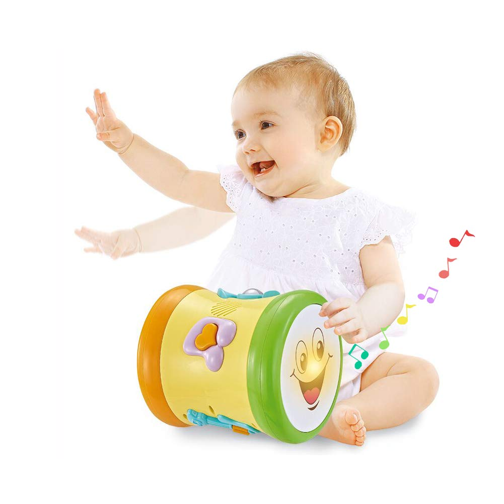 Baby Activity Drum Musical Toys Double Sid Electronic Music/& Sound with Lights Learning Educational Toy for Baby /& Toddler for 1 2 3 Year Old Boys and Girls Sytle-Carry